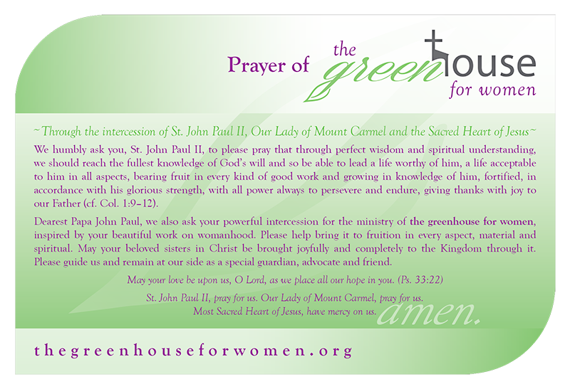 Prayer of the greenhouse for women